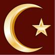 Islam Symbol, Crescent and Star, gold symbols of Islamic faith