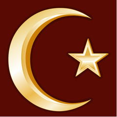 Islam Symbol, Crescent and Star, gold symbols of Islamic faith