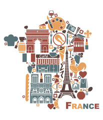 Symbols of France in the form of a map