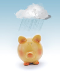 Piggy bank with cloud and rain above.