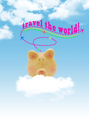 Piggy bank flying on cloud with blue sky background