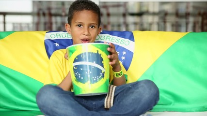 Brazilian Fan Boy Celebrates Eating Popcorn