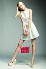 Fashion photo of young magnificent woman. Girl with handbag