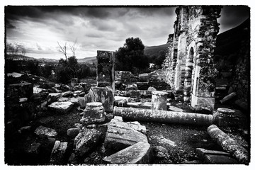 Black and White Ancient Troizina Ruins, Greece