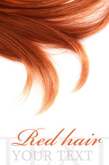 Beautiful red hair isolated on white background