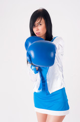 Pretty girl with boxing gloves