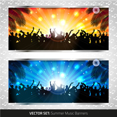 Vector set of two summer music banners