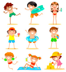 collection of cartoon kids having fun at the beach