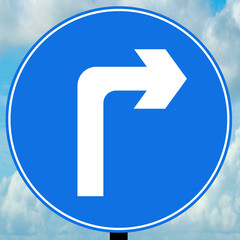 Turn right ahead traffic sign