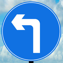 Turn left ahead traffic sign