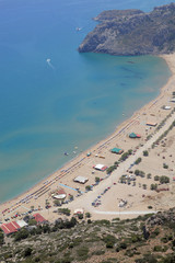 der Strand von Tsambika auf Rhodos