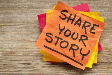 share your story on sticky note