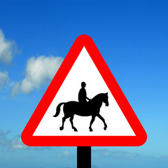Accompanied horses or ponies likely to be in the road