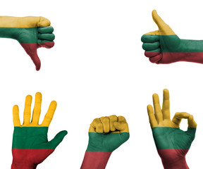 Hand set with the flag of Lithuania