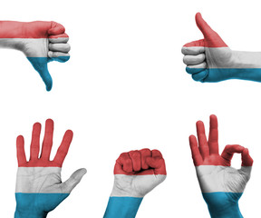 Hand set with the flag of Luxembourg