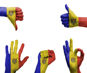 Hand set with the flag of Moldova