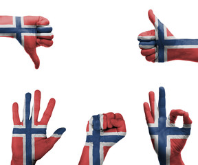 Hand set with the flag of Norway