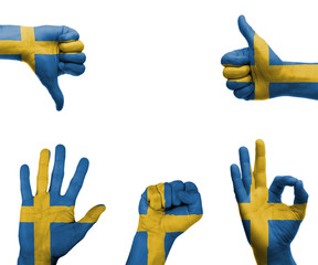 Hand set with the flag of Sweden