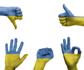 Hand set with the flag of Ukraine
