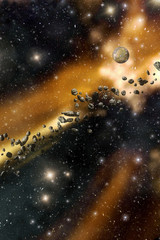 Asteroids and starfield background