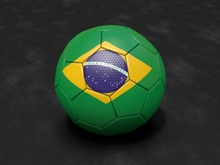 3D football with Brazilian national flag (dark)