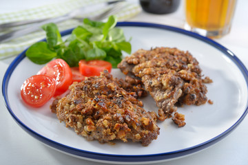 Schnitzel with walnuts