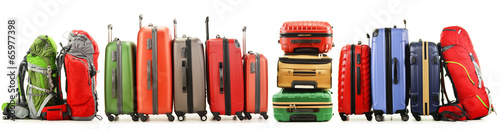 Suitcases and backpacks isolated on white background - 65977398