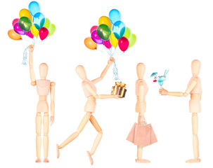 wooden Dummy with flying balloons and gift isolated