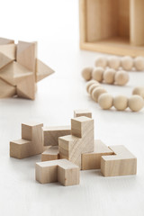 wooden blocks and logic games