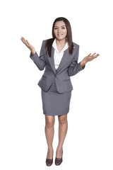 full body businesswoman gesture attractive presenting someting