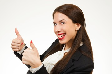 Isolated young business woman, showing her thumbs up