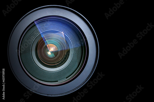 Camera lens isolated on black - 65978958