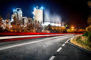 Petrol plant at night