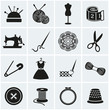 Sewing and needlework icons. Vector set. - 65979700