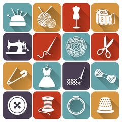Sewing and needlework flat icons. Vector set.
