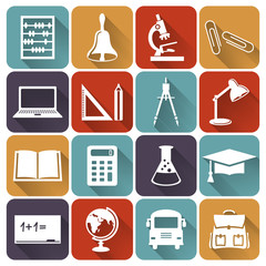 School and education flat icons. Vector set.