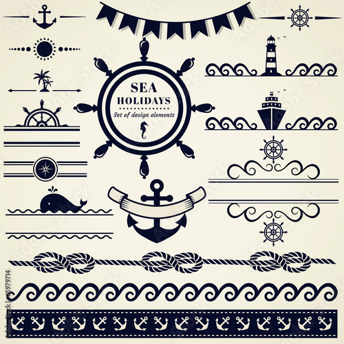 Nautical and sea design elements. Vector set. - 65979714