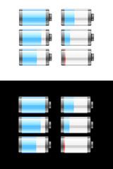Set of batteries or cells showing the charge