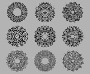 Circular ornate Celtic ornaments