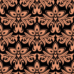 Dark damask seamless floral pattern