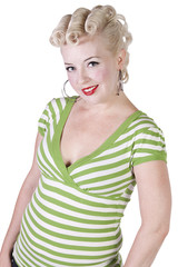 Woman in pin-up dress posing - Isolated