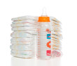 child stack of diapers, nipple soother, baby feeding milk bottle