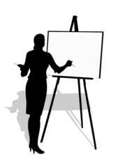 silhouette of the artist with an easel