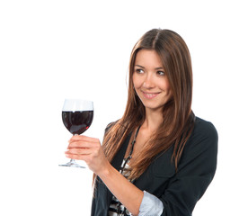 Portrait of young woman tasting sampling red wine alcohol drink