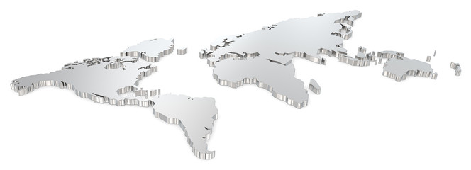 Steel world map. Angel view of world map. Metal.