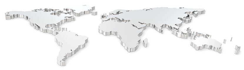 World map. Front view of steel world map. Wide image.