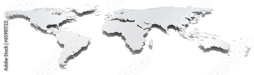 Wide image world map.Front view of thin steel world map.Metal