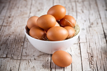 fresh eggs in a bowl