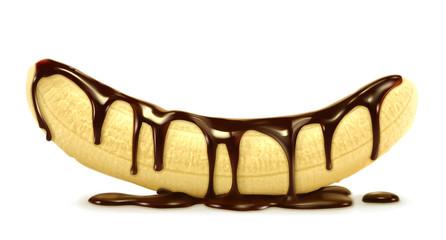 Banana in chocolate, vector illustration