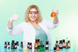 chemist woman with glassware thumb up gesture isolated